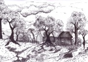 Surrealism Landscape Drawings Prints - Jos Farm Print by Joella Reeder