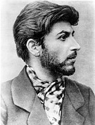 Revolutionaries Framed Prints - Josef Stalin As A Young Revolutionary Framed Print by Everett