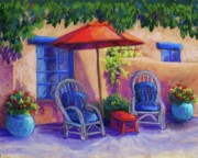Adobe Building Pastels Posters - Josefinas Courtyard Poster by Candy Mayer