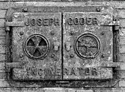 Cast Iron Framed Prints - Joseph Coder Incinerator Door Black and White Framed Print by Randy Steele