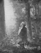 Joseph Smith Praying In The Grove Print by Lewis A Ramsey