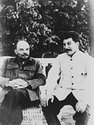 Lenin Framed Prints - Joseph Stalin 1879-1953 And Vladimir Framed Print by Everett
