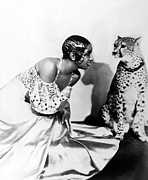 1920s Hairstyles Framed Prints - Josephine Baker And Her Cheetah Framed Print by Everett