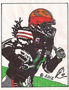 Cleveland Browns Drawings Posters - Josh Cribbs Poster by Jeremiah Colley