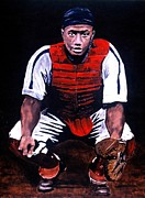 Baseball Painting Posters - Josh Gibson - Catcher Poster by Ralph LeCompte