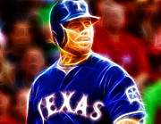Mlb Drawings Posters - Josh Hamilton Magical Poster by Paul Van Scott