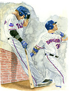 Outfielder Paintings - Josh Hamilton The Ball Player by George  Brooks