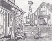Amish Farms Drawings - Joshie and the birds by Alfred James Dill