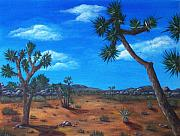 Blue Drawings - Joshua Tree Desert by Anastasiya Malakhova