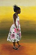 Full-length Portrait Painting Prints - Josie Portrait Print by Peter Worsley