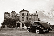 Purple Ford Photos - Joslyn Castle with a 1940 Ford  by Andrea Kelley