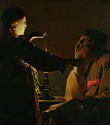Light And Dark   Painting Prints - Jospeh and The Angel Print by Georges de la Tour