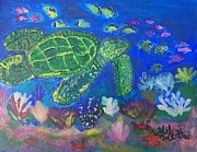 Sea Turtles Paintings - Journey at Sea by Stefanie Nellett
