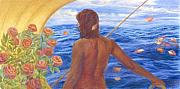 Seascape Pastels Posters - Journey of the Black Madonna Poster by Dawn Meader