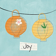 Joy Mixed Media Framed Prints - Joy Lanterns Framed Print by Linda Woods