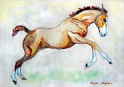 Horse Drawings Prints - Joy of Summer Print by Tarja Stegars