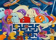 Pac-man Framed Prints - Joy Stick Dreams Framed Print by Jennifer Bardsley