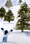 Winter Scene Paintings - Joy to the World by Dawn Derman