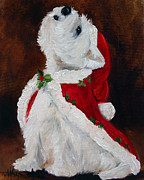 Santa Puppy Posters - Joy to the World Poster by Mary Sparrow Smith