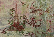 Eiffel Tower Mixed Media Metal Prints - Joyeux Noel Metal Print by Gail Kent