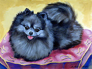 Pomeranian Framed Prints - Joyful - Pomeranian Framed Print by Lyn Cook