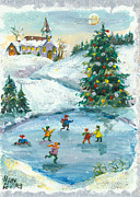 Winter Scene Paintings - Joyful Christmas by Elisabeta Hermann