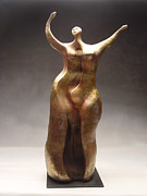 Stoneware Sculpture Posters - Joyful Poster by Judith Birtman
