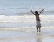 Photo  Paintings - Joyful Jumping In The Ocean by Constance Woods