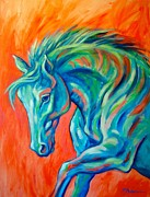 Contemporary Horse Framed Prints - Joyful Framed Print by Theresa Paden