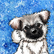 Whimsical Illustration Posters - Joyous Blue Tibetan Spaniel Poster by Kim Niles