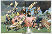 Political Illustration Framed Prints - J.p. Morgan. Political Cartoon Framed Print by Everett