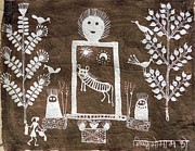 Indian Tribal Art Paintings - Jsm 01 by Jivya Soma Mashe