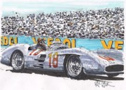 Mercedes Automobile Drawings - Juan Fangio Mercedes Benz French Grand Prix by Paul Guyer