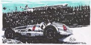 Mercedes Automobile Drawings - Juan Fangio Mercedes Benz Grand Prix of Argentina by Paul Guyer