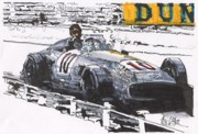 Mercedes Automobile Drawings - Juan Fangio Mercedes Benz Grand Prix of Germany by Paul Guyer