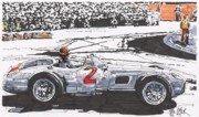 Mercedes Automobile Drawings - Juan Fangio Mercedes Benz by Paul Guyer