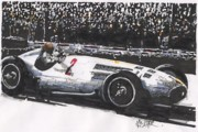 Mercedes Automobile Drawings - Juan Fangio Mercedes Grand Prix of Argentina by Paul Guyer