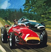 Driving Framed Prints - Juan Manuel Fangio Framed Print by Wilf Hardy