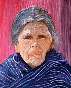 Shawl Painting Originals - Juana Portrait by Peter Worsley