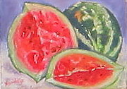 Watermelon Pastels Originals - Juciy by Denise  Cox