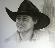 Cowboy Pencil Drawings Posters - Jud Poster by Mary Scott
