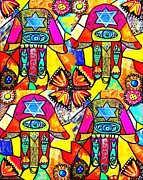 Engagement Digital Art Prints - Judaica Hamsa Flower Tapestry Print by Sandra Silberzweig