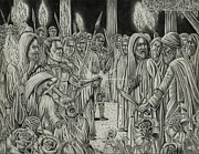Religious Drawings Originals - Judas in Garden by Vincnt Clark
