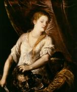 Judith Posters - Judith with the Head of Holofernes Poster by Tiziano Vecellio Titian