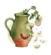 Green Roses Prints - Jug and Rose Print by Kestutis Kasparavicius