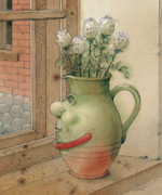 Green Drawings Posters - Jug and Roses Poster by Kestutis Kasparavicius