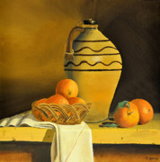 Jugs Prints - Jug with Oranges Print by Tom Amiss