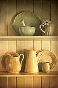 Buffet Posters - Jugs and pitchers on shelves Poster by Sandra Cunningham