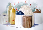 Crocks Paintings - Jugs by Lisa Schorr