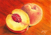 Peaches Drawings Posters - Juicy Fruit Poster by Iris M Gross
